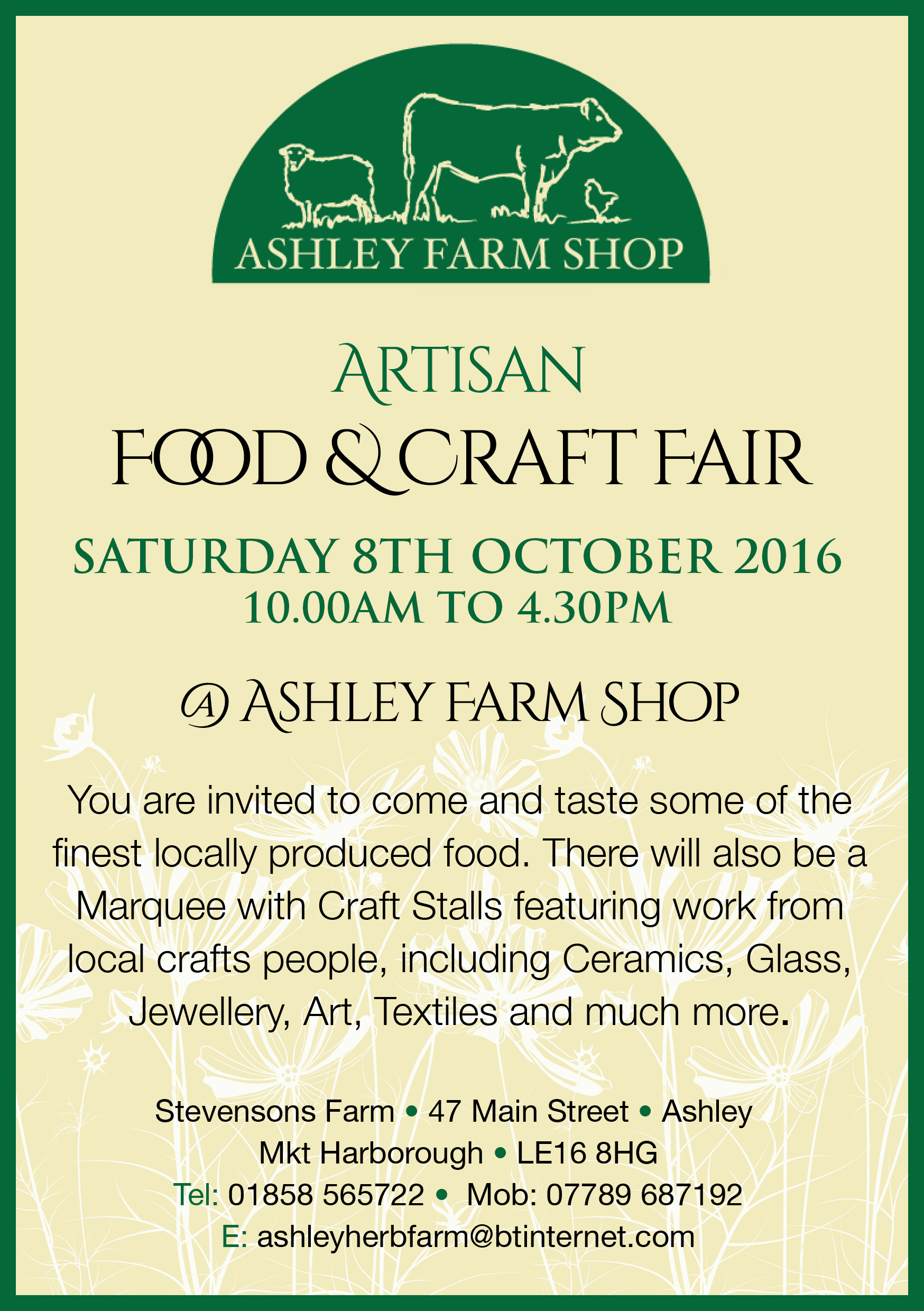 Ashley Farm Food & Craft Fair Flyer October 2016